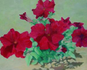 Bright Red Flowers in Paintings, Colorful Floral Art, Beautiful Flower Gardens